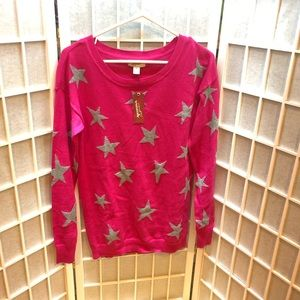 Hot pink sweater with grey stars JUNIORS M NWT
